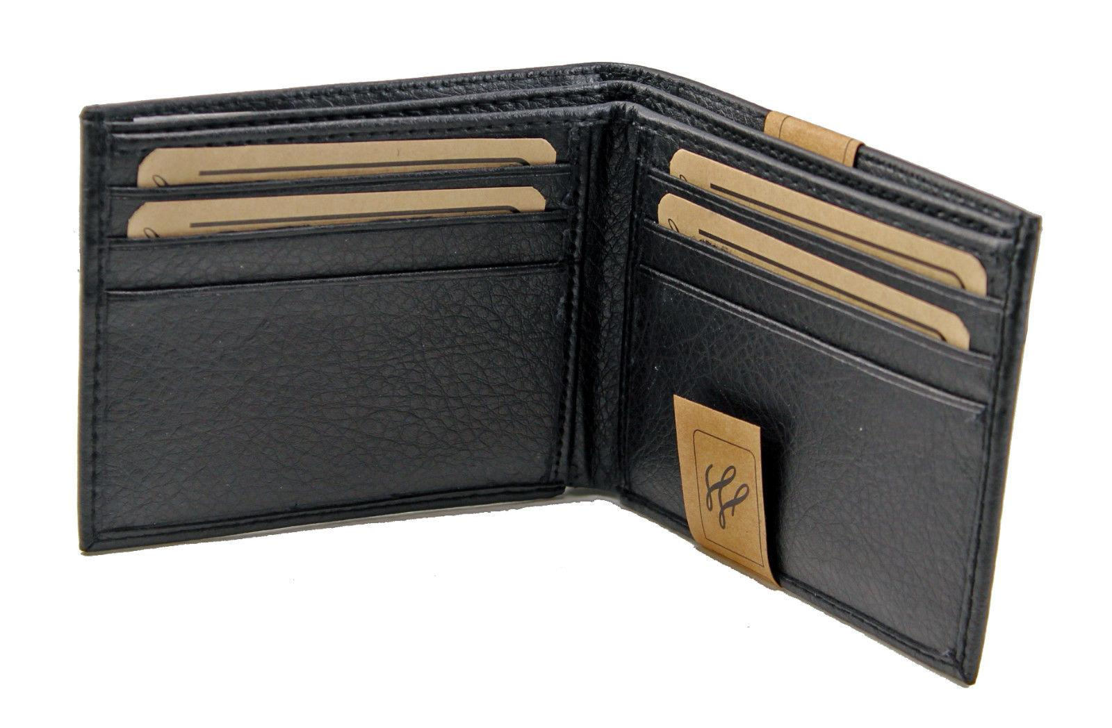 new mens bifold grain leather wallet black