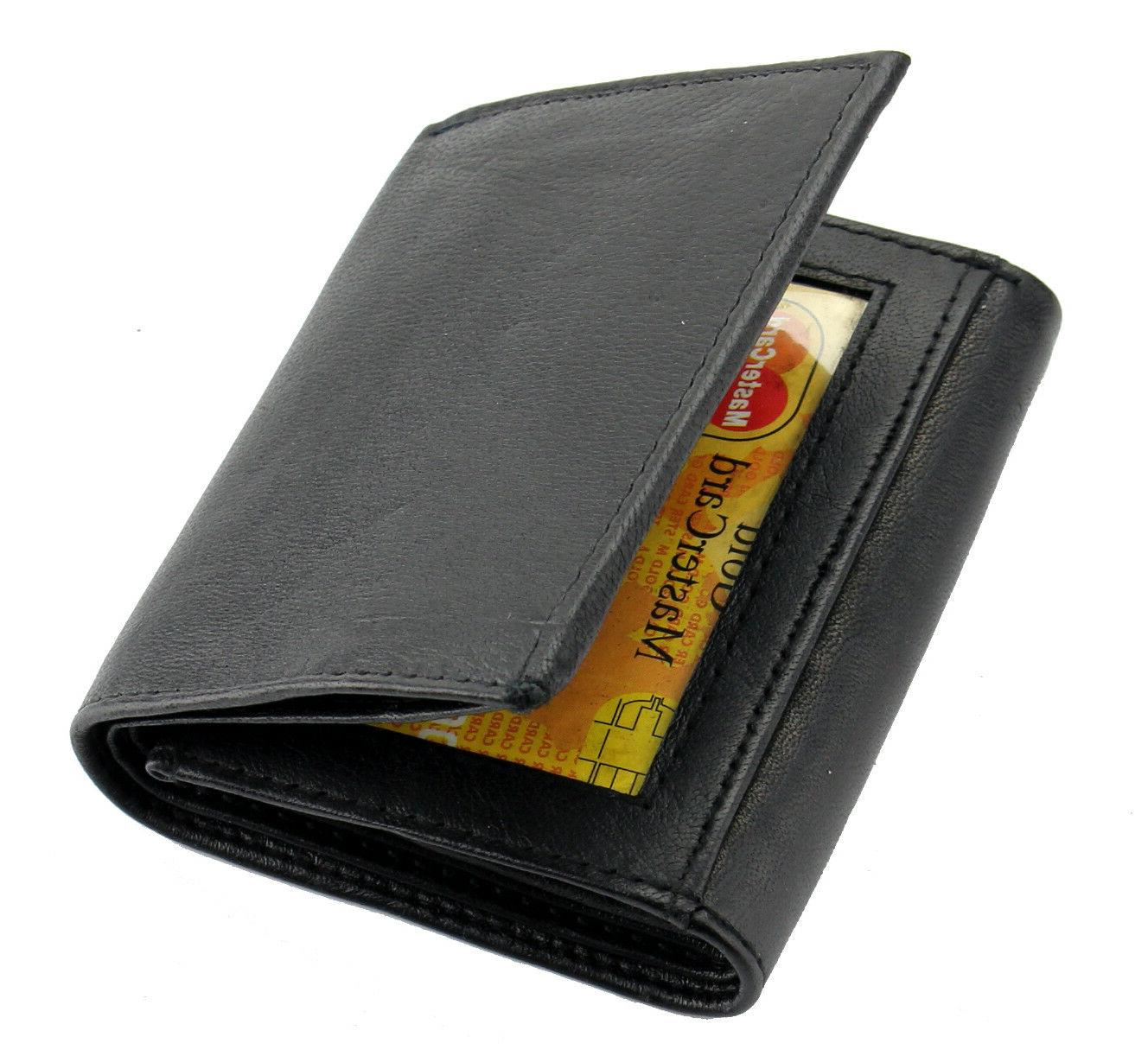 New Black Leather Trifold Wallet ID Credit Card Holder