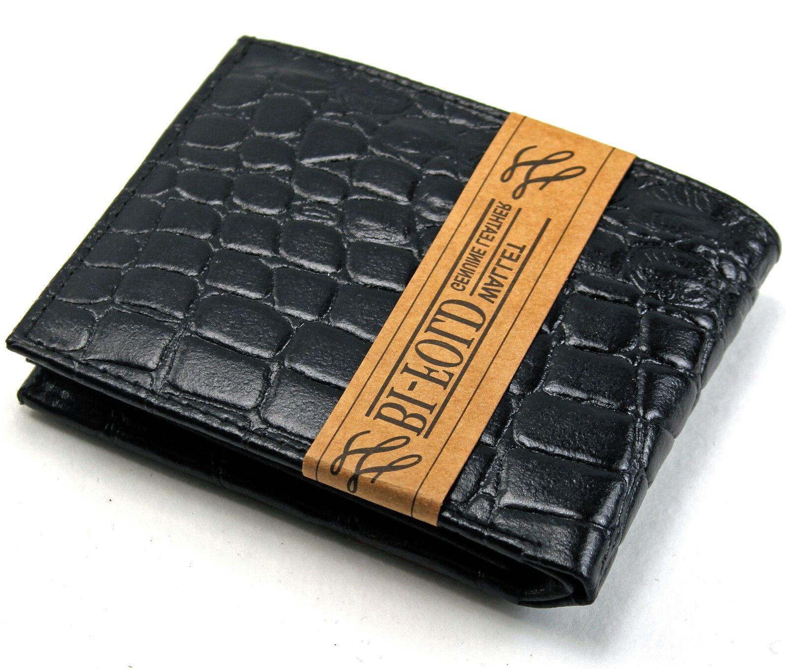 new mens genuine leather bifold wallet id