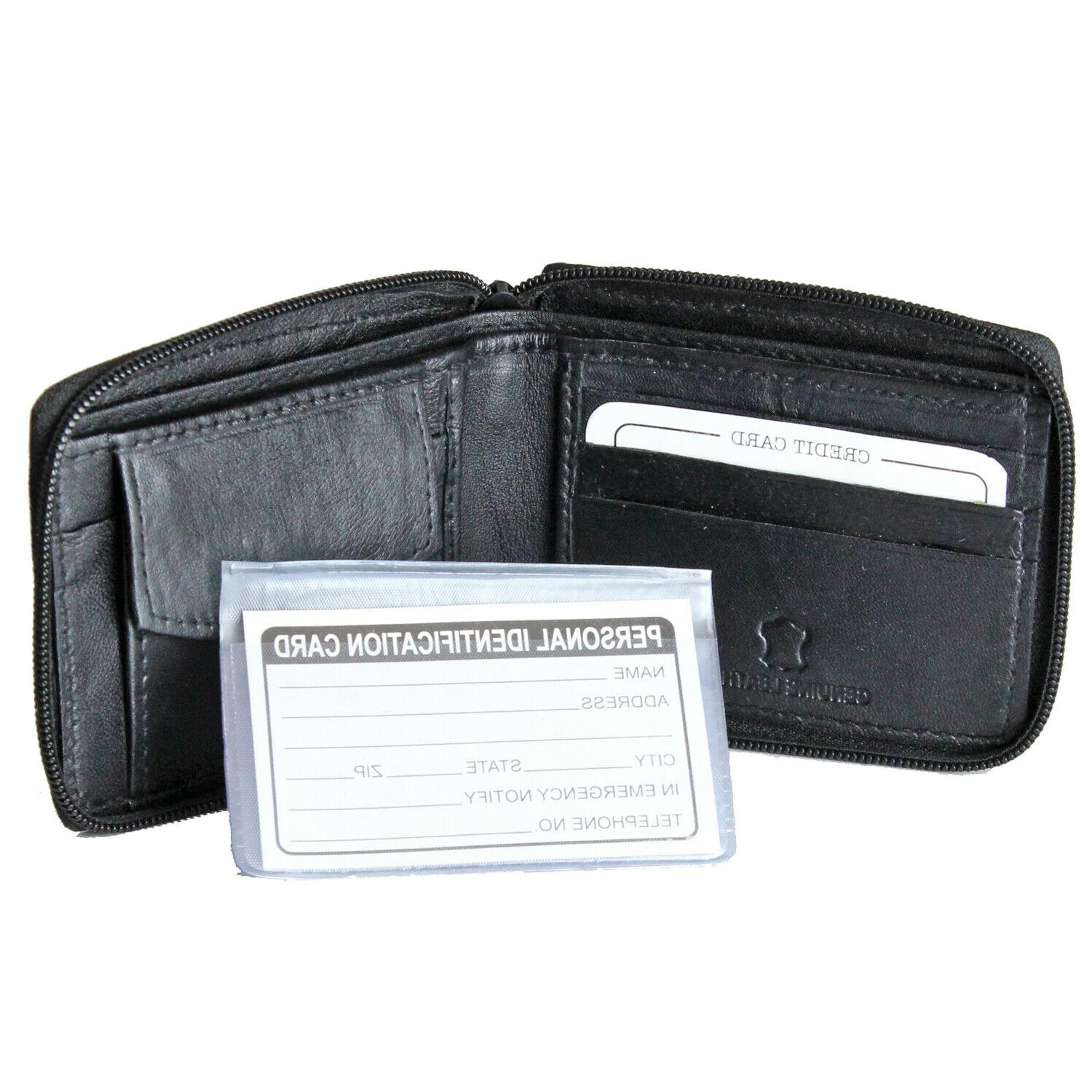New Mens Genuine Leather Zip Zipper Wallet Billfold Key