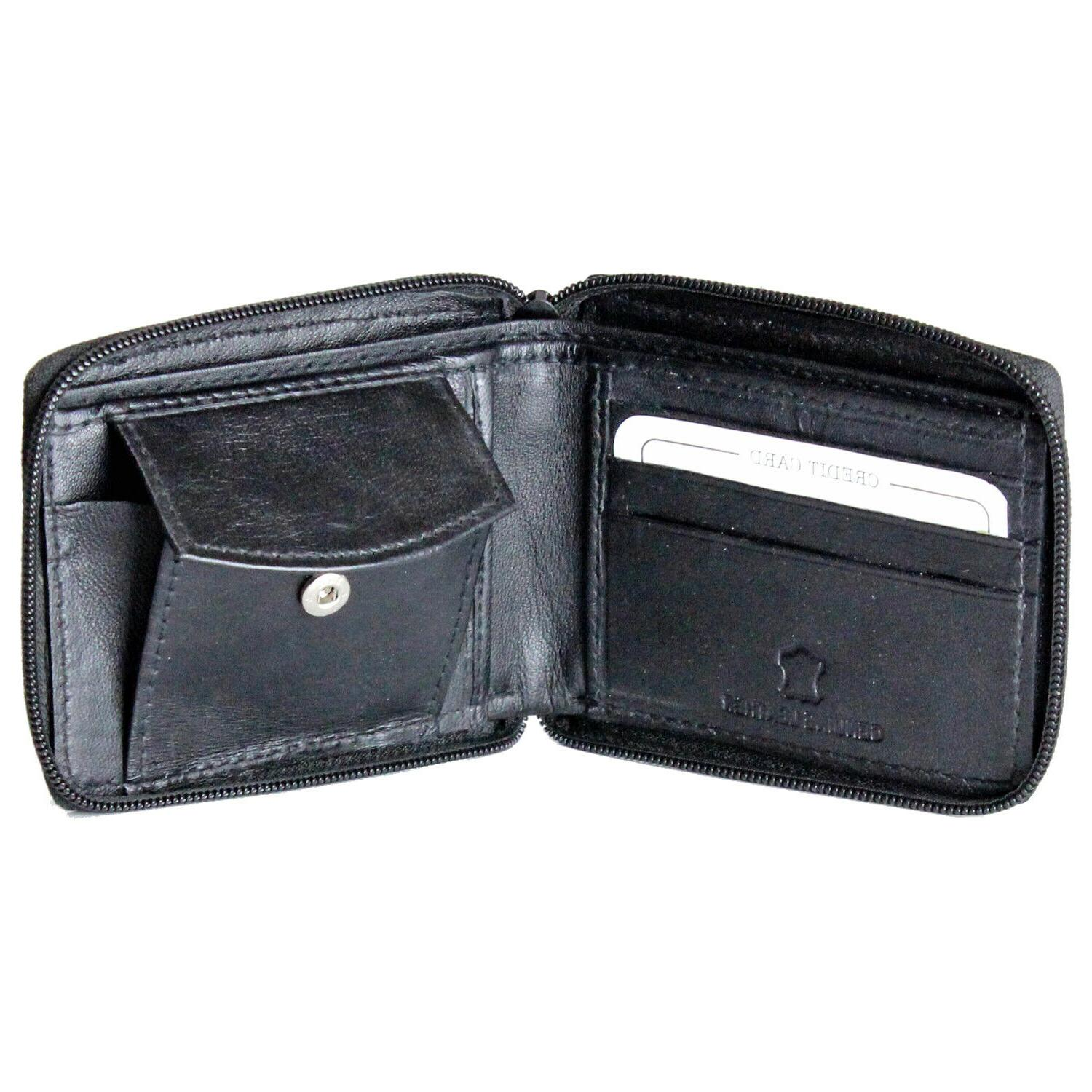 New Mens Zip Zipper Wallet Key