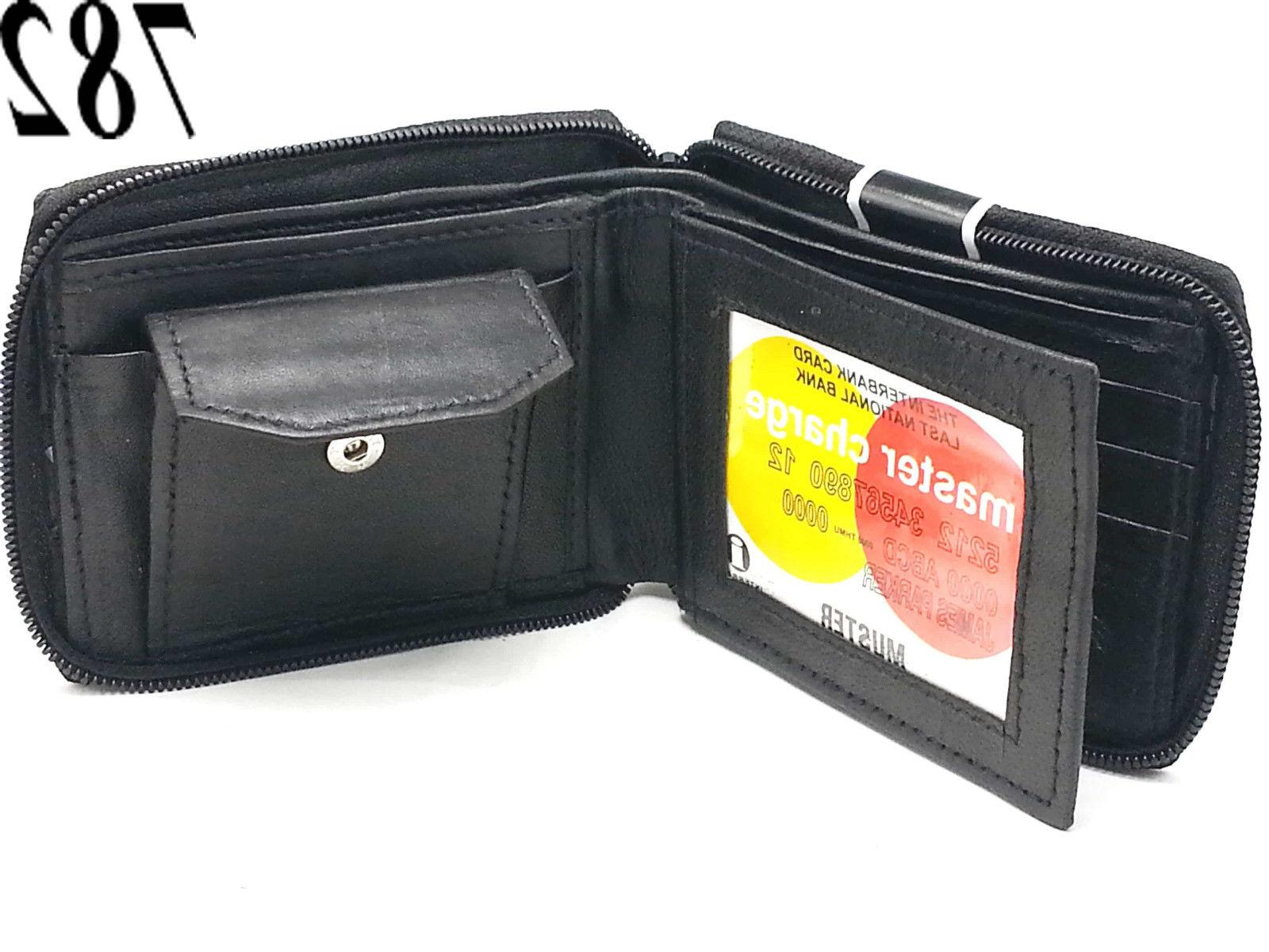 New Mens Zip Wallet Key