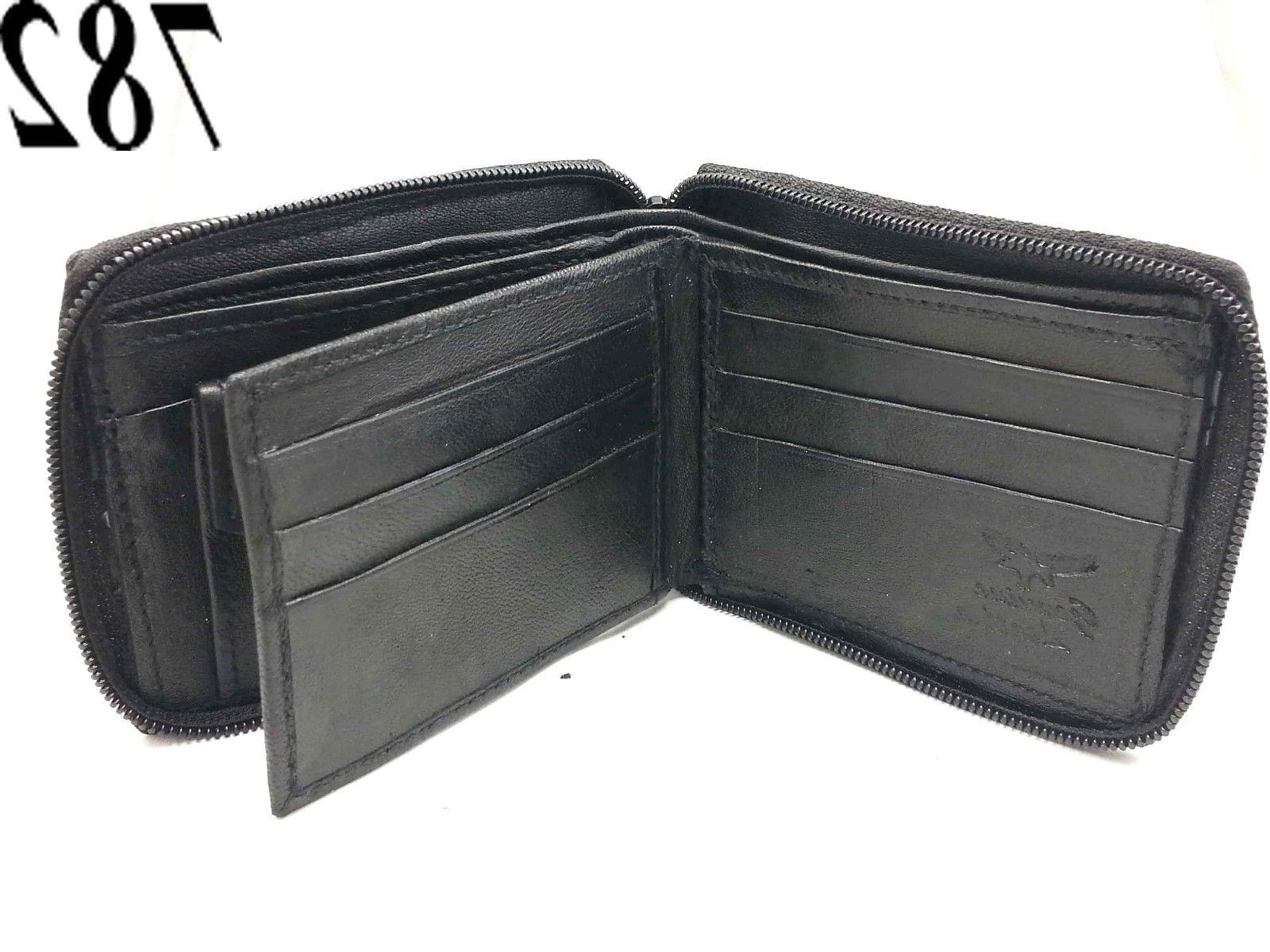 New Mens Zip Secure Wallet Black Key