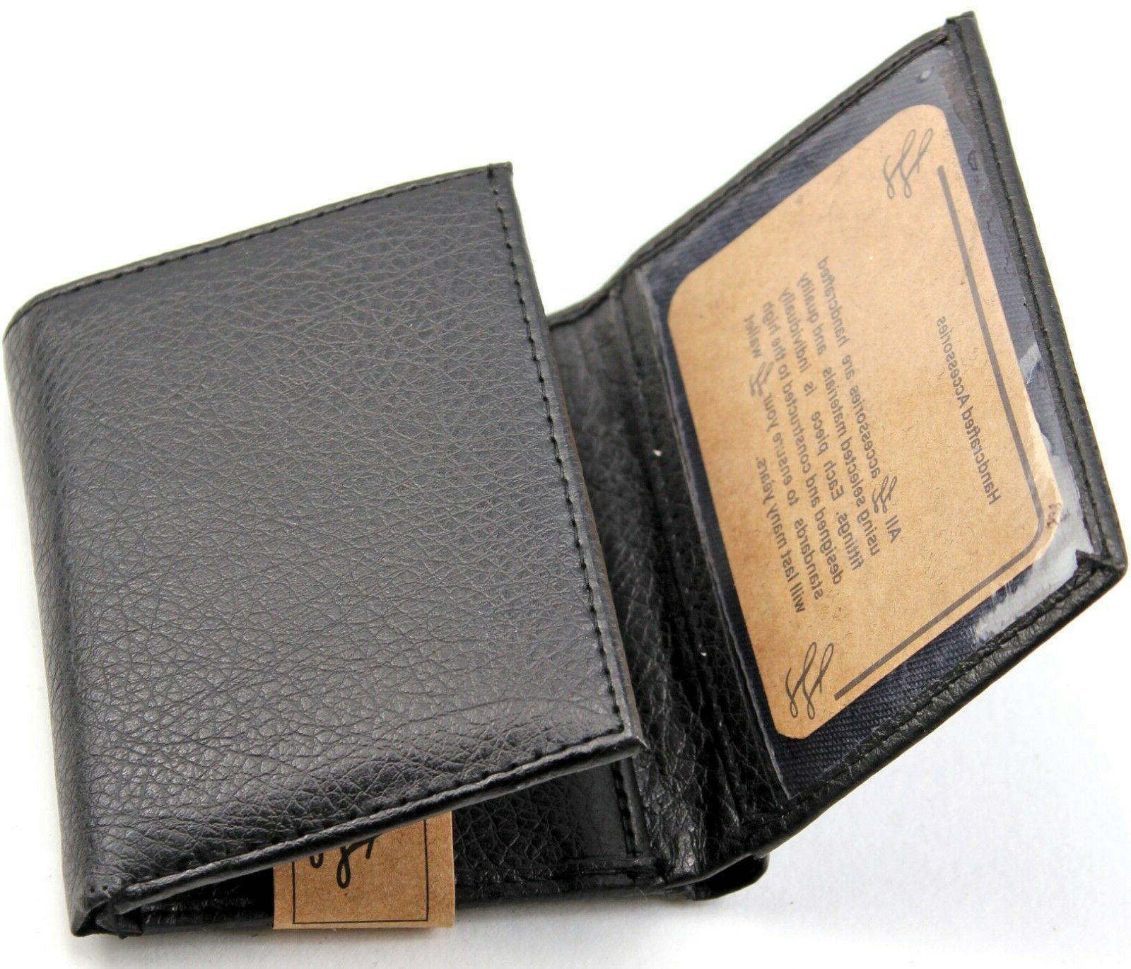 New Trifold Leather Black Wallet Card Case