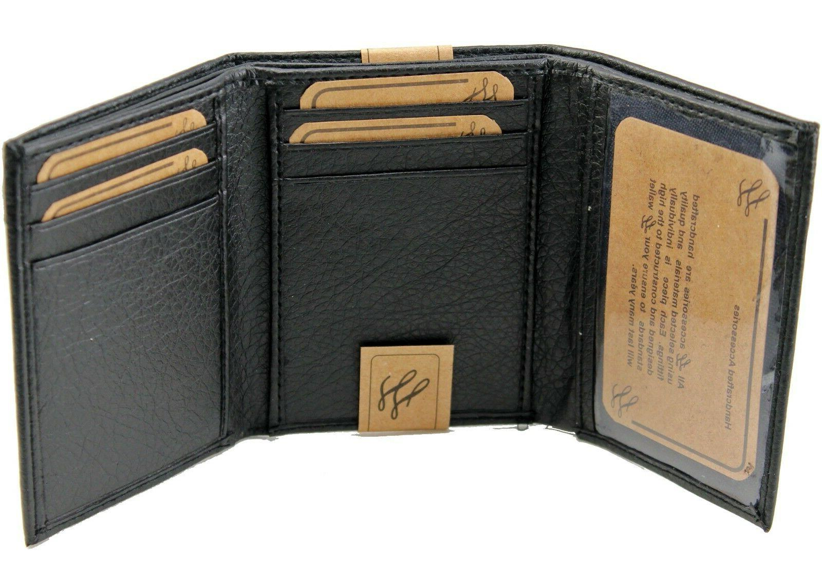 New Mens Trifold Genuine Leather Wallet Card Case Holder