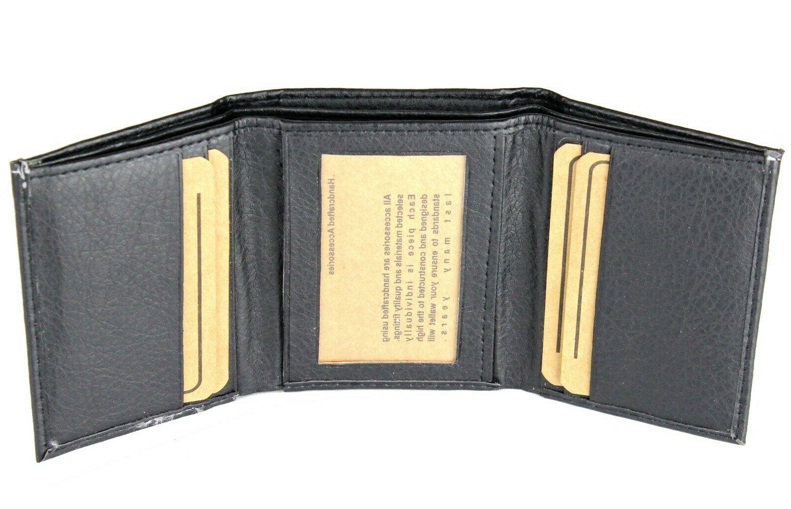 New Trifold Leather Black Wallet Card Window ID Holder