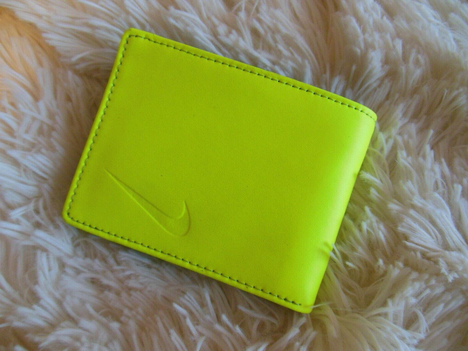 NEW Nike Golf Slimfold Wallet Leather Volt Yellow Mens Bi-Fold Logo