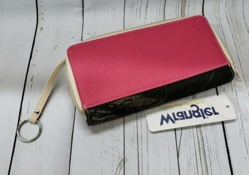 New Women's Pink Camo Clutch Double Zipper 9013w