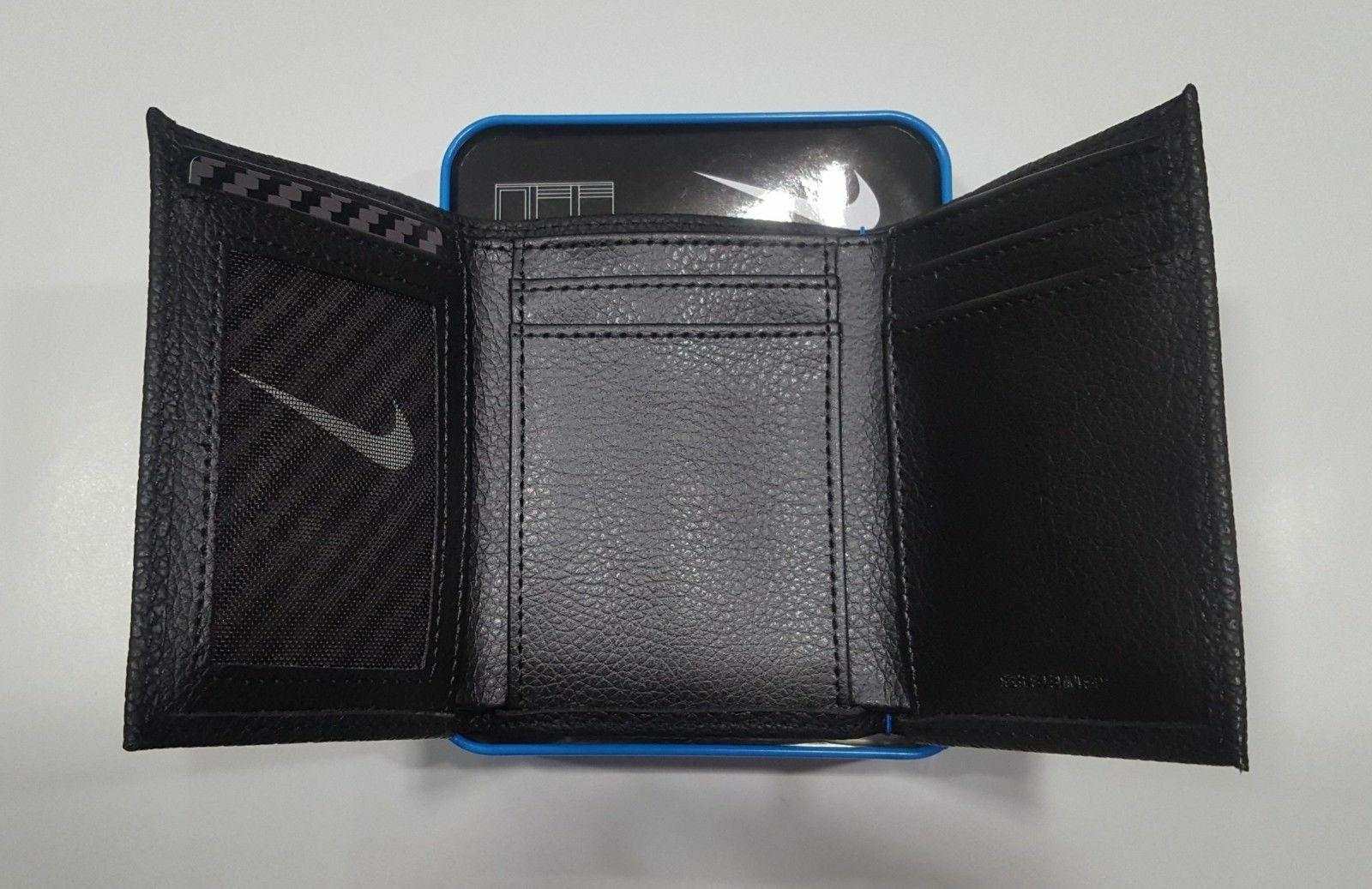 NIKE Men's Genuine Grain Leather Trifold Black Brown. MSRP $36