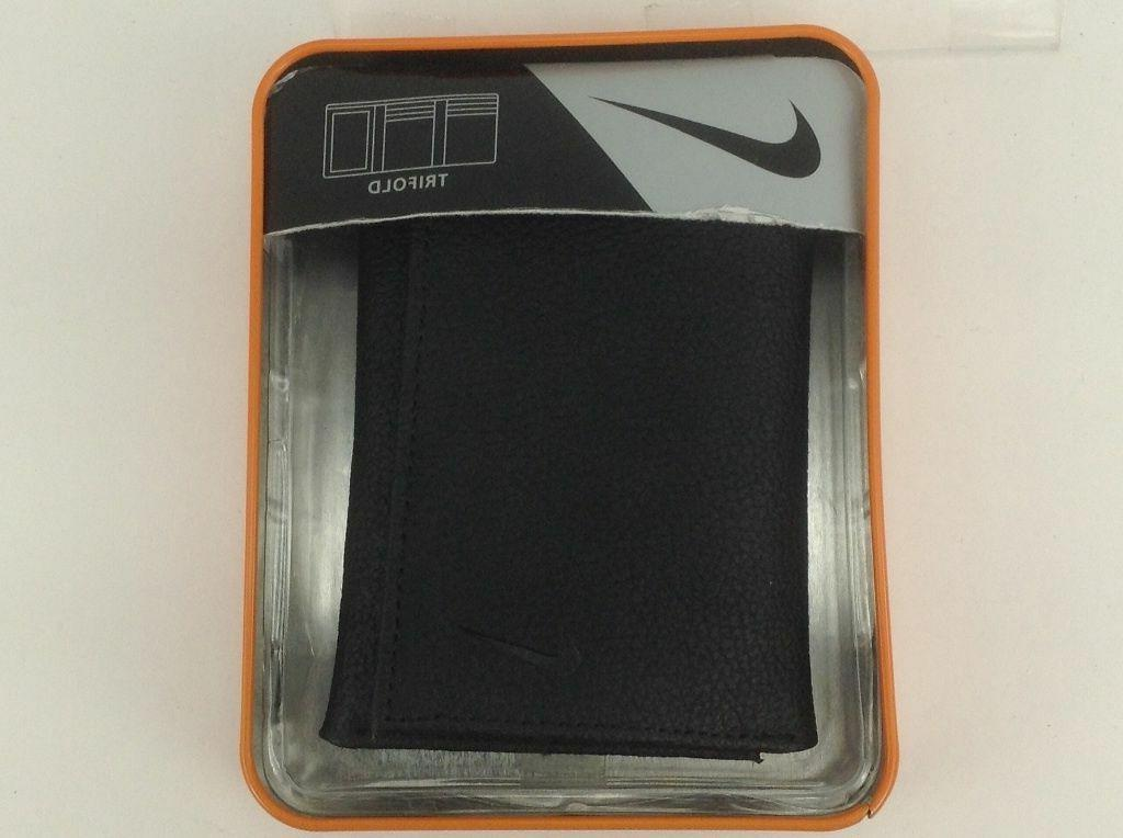NIKE Grain Leather Trifold Wallet, Black or $36