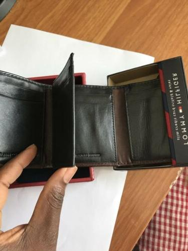 NWT Tommy Hilfiger Leather Trifold-Black