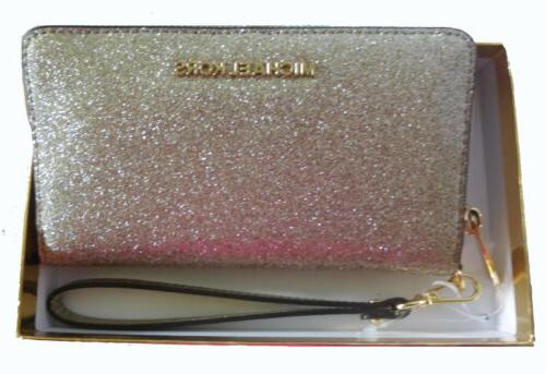 pale gold leather glitter large flat phone