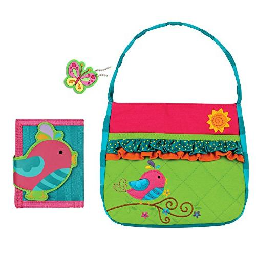 quilted song bird purse wallet