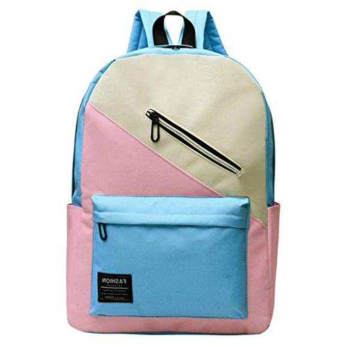 rakkiss couple backpack multi pocket color stitching