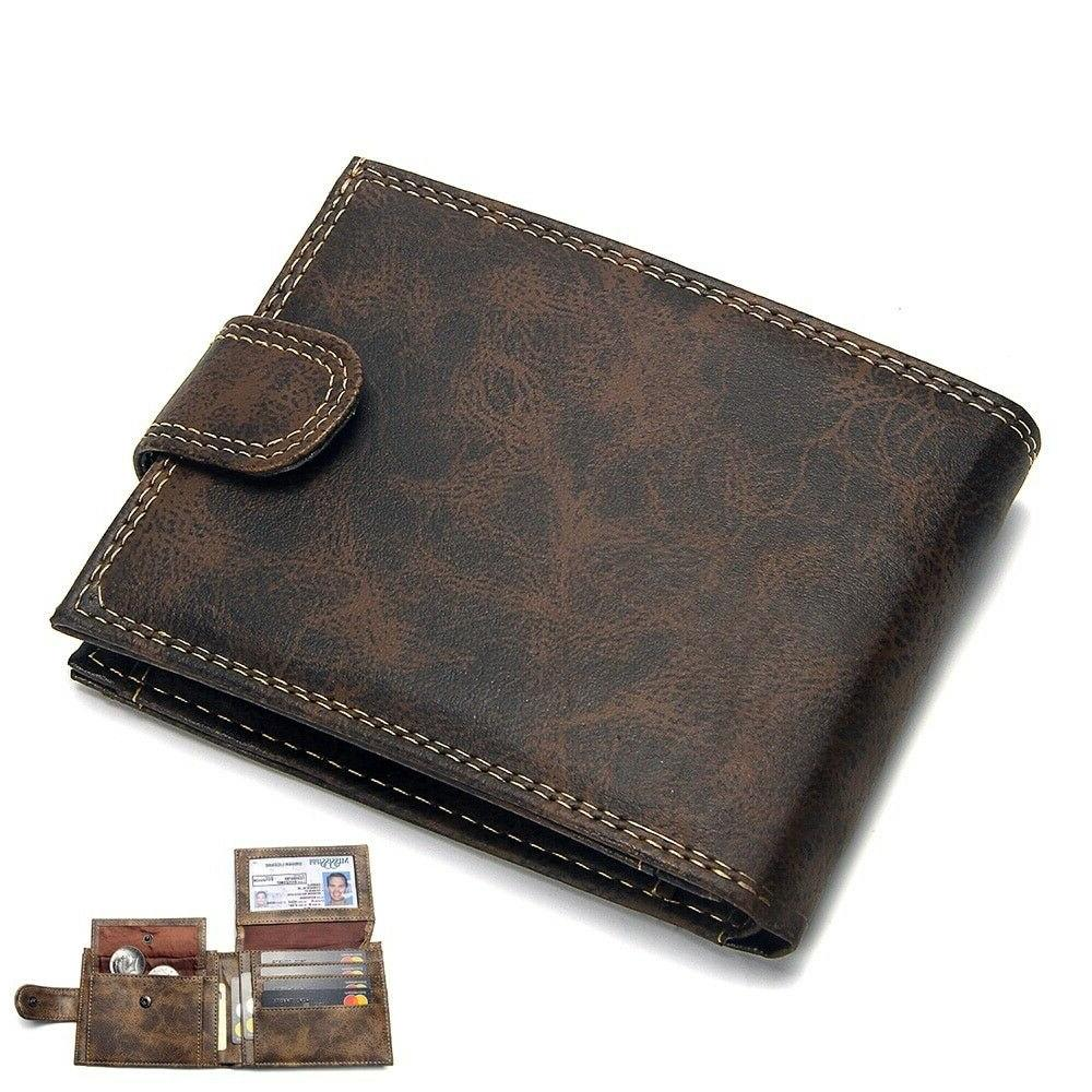 Real Leather Wallets For Men Trifold Wallet RFID Blocking