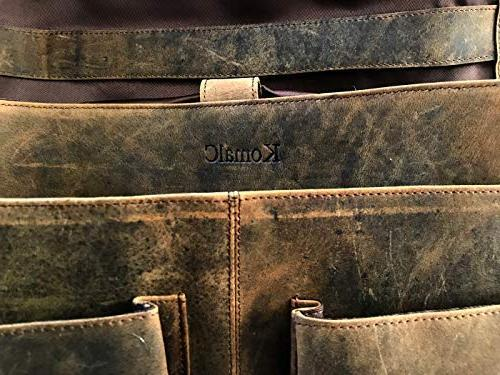 KomalC 18 Retro Buffalo Leather Messenger Bag College and