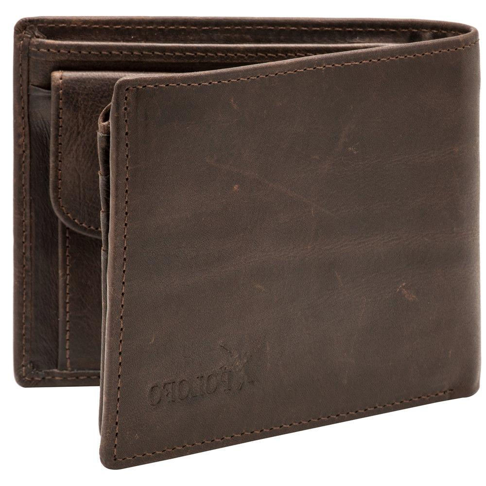 RFID Genuine Leather Bifold with Zipper Coin