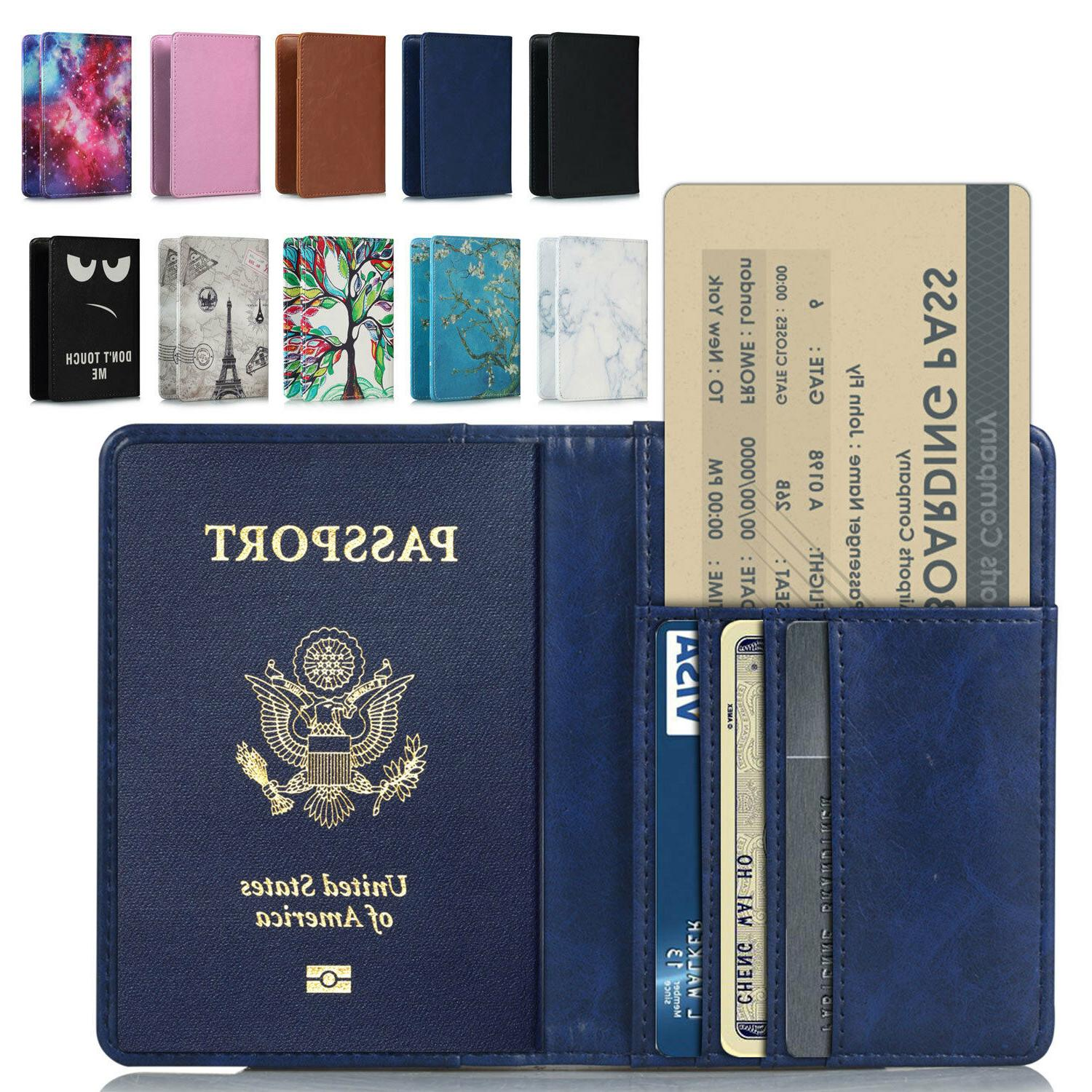 rfid blocking leather passport holder id case