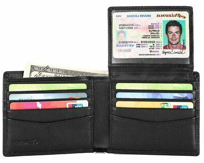 rfid blocking leather wallet trifold credit card
