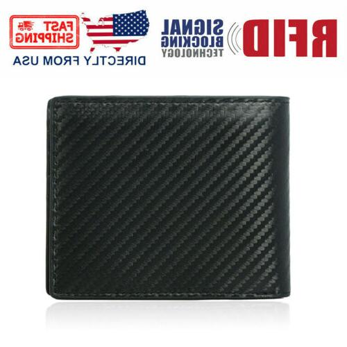rfid blocking men s carbon fiber leather