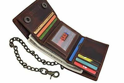 RFID Men's Vintage Leather Biker Chain Wallet With Snap