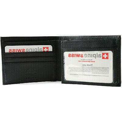 Alpine Swiss Mens Bifold Identity Credit Cards Safe