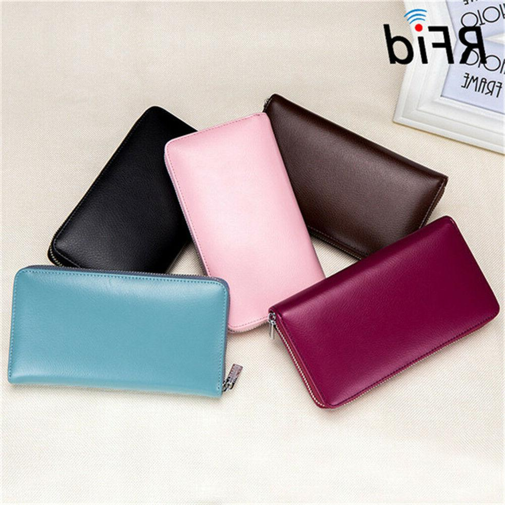 RFID Blocking Cow Genuine Leather Credit Card Holder Long