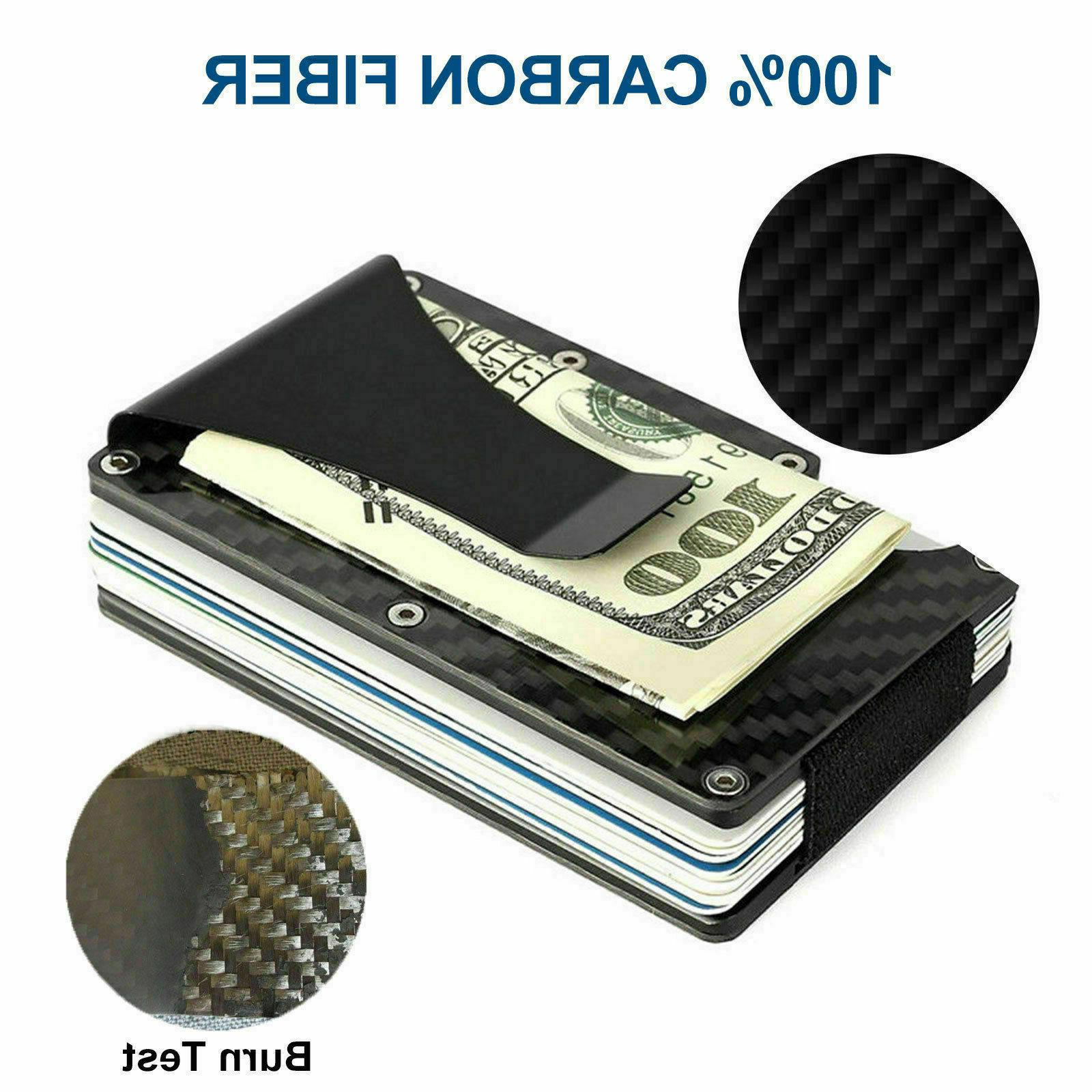 RFID Money Clip Mens Carbon Fiber Credit Holder Metal Wallet
