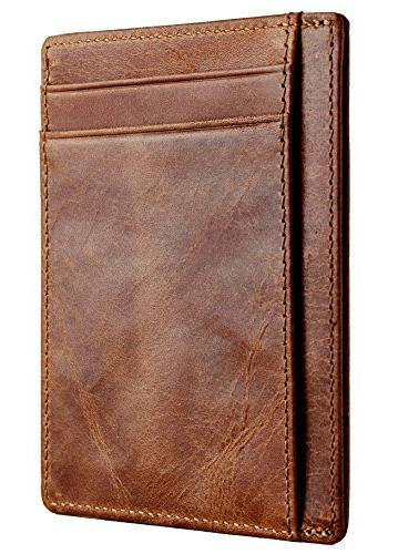 Travelambo RFID Front Minimalist Wallet Leather Small Size