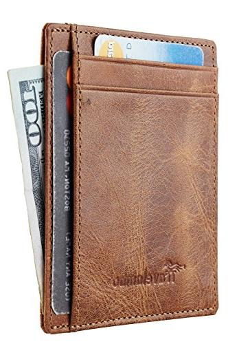 Travelambo Front Minimalist Wallet Genuine Leather Small
