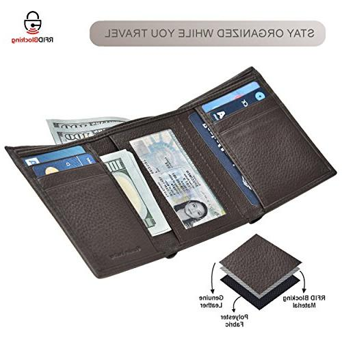 RFID Leather for Men Slim Mens Wallet Credit Card ID Window and Box by