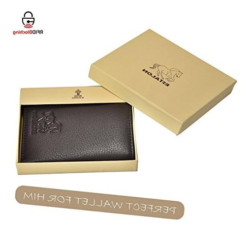 RFID Leather Trifold for Slim 6 Credit ID Window and Gift Box Secure by Estalon