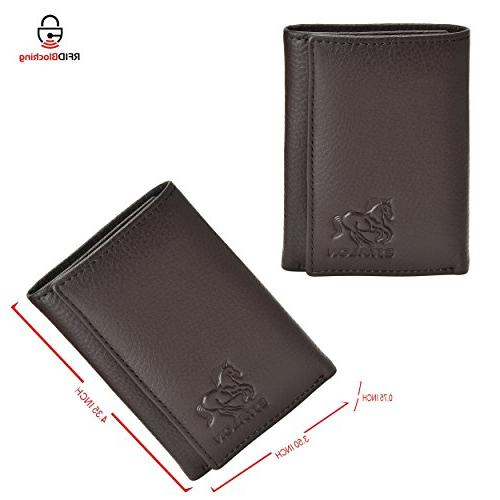 RFID Leather Trifold Wallets for Men - Slim Wallet 6 Credit Card Window and Gift by