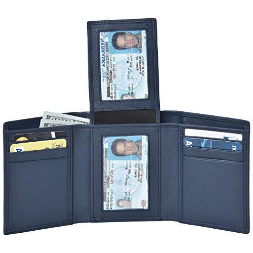 rfid leather trifold wallets for men handmade