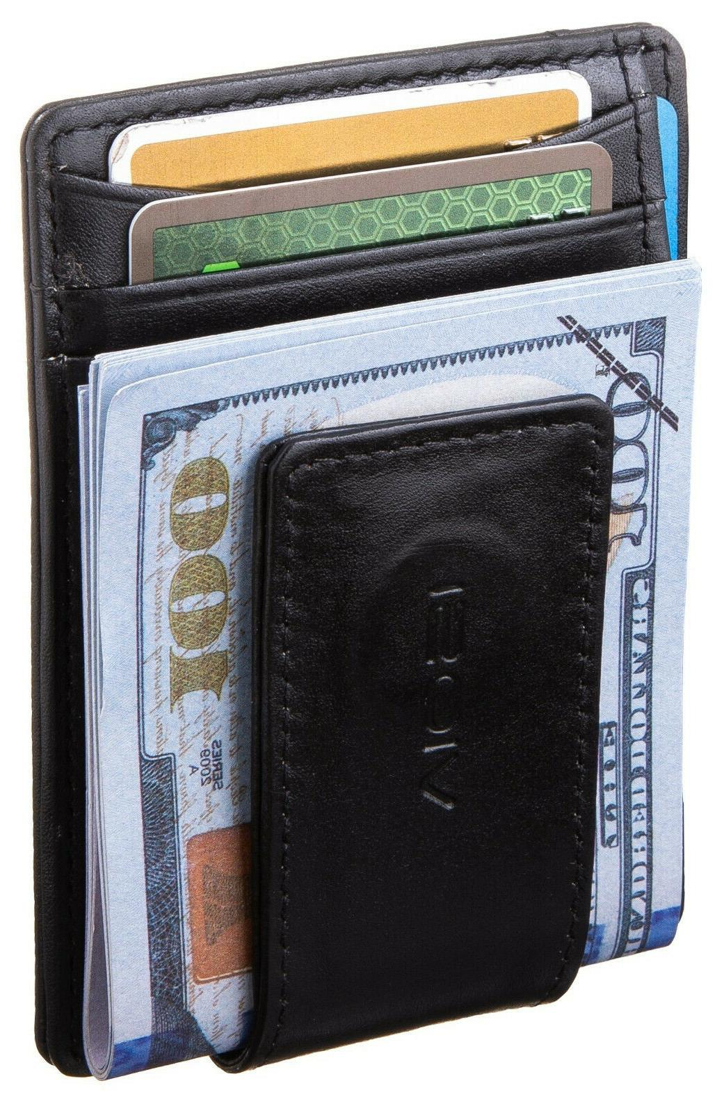 rfid men s leather magnetic front pocket