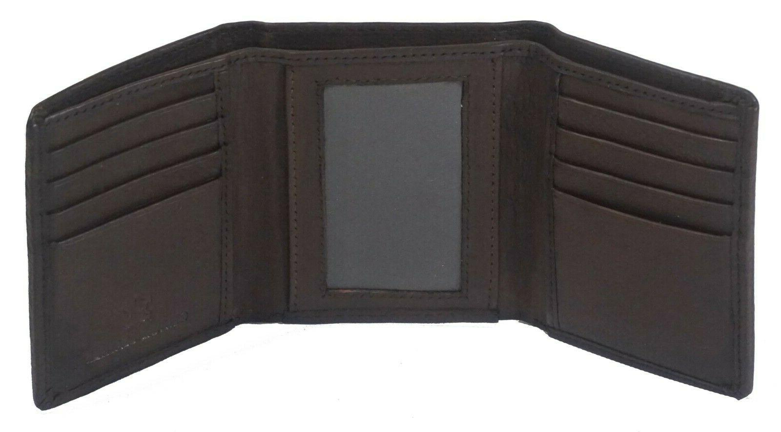 RFID Signal Mens Trifold Genuine Cow Leather