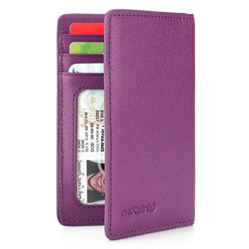 slim leather id credit card holder bifold