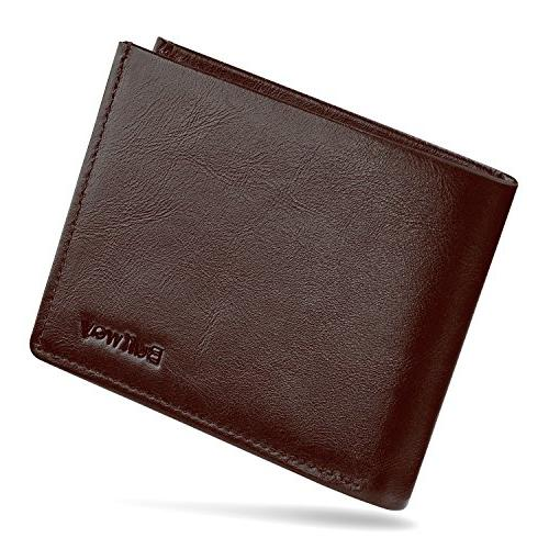 slim minimalist leather bifold wallets for men