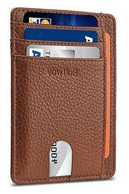 slim minimalist leather wallet rfid blocking brown