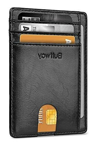 slim minimalist rfid blocking leather wallet