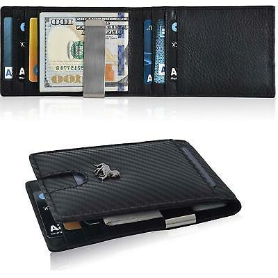 Slim Money Clip Wallet For Men–RFID Leather Bifold Front P