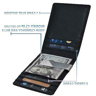Slim Money For Men–RFID Leather Bifold Front