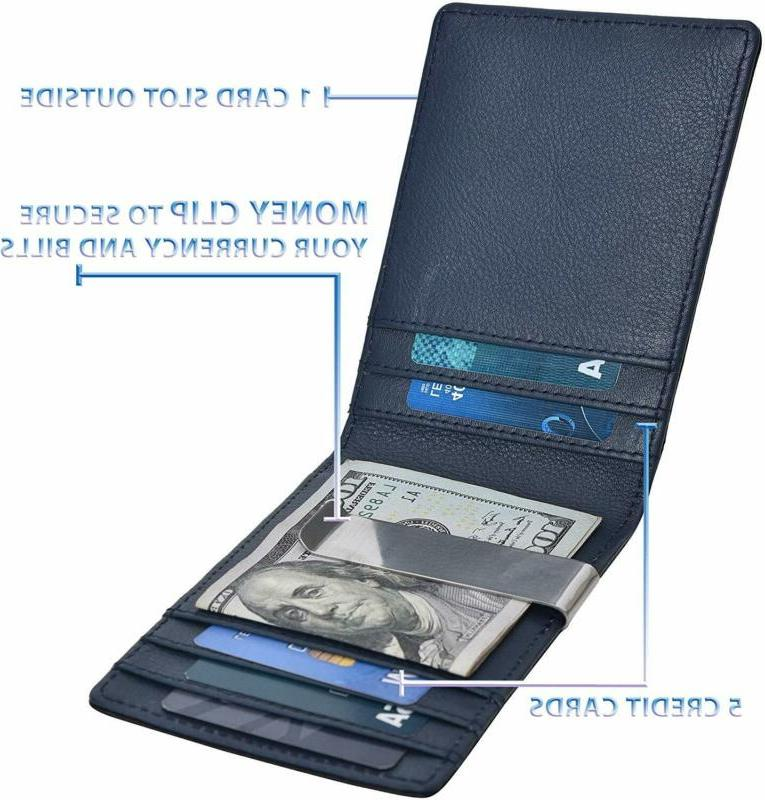 Slim Money Wallets For Real Leather RFID Wallet