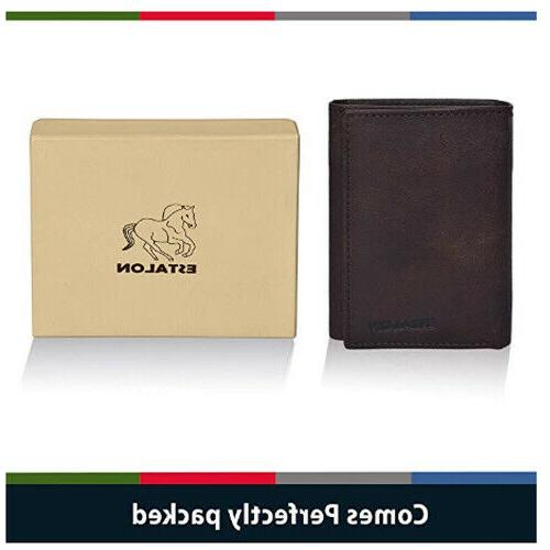 Slim wallet mens wallet with technology blocking