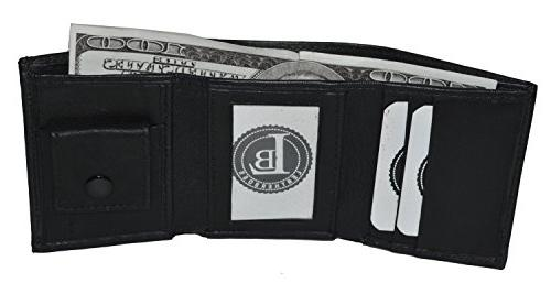 small compact kids baby trifold wallet black