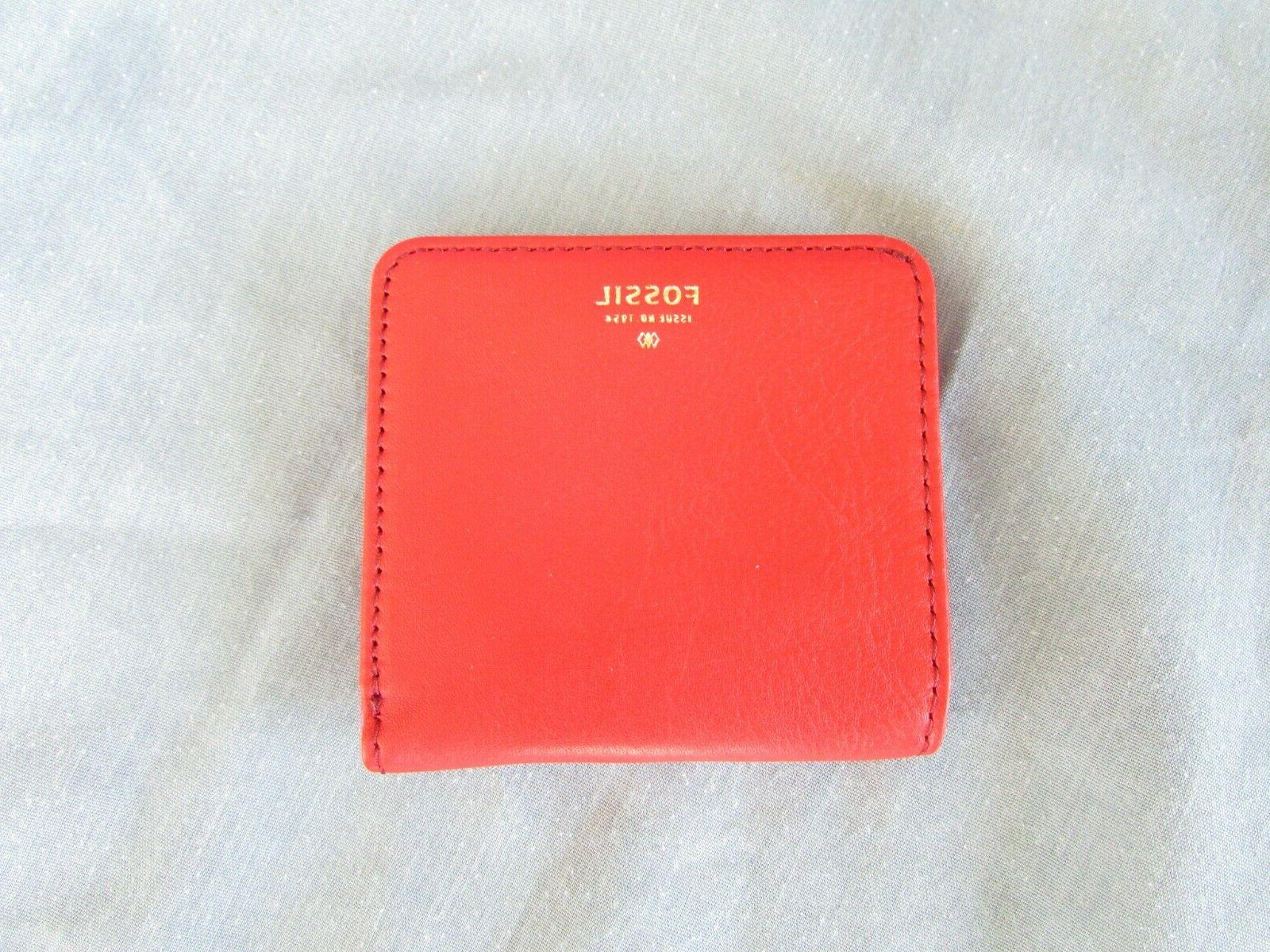 small red cowhide leather shell id wallet