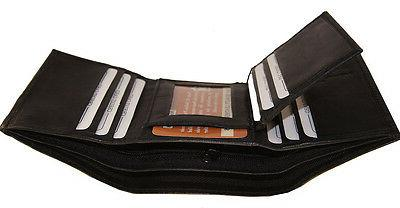 AG Wallets Trifold Crocodile Embossed ID Leather Black