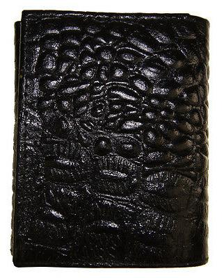AG Wallets Mens Crocodile Credit ID Leather Black