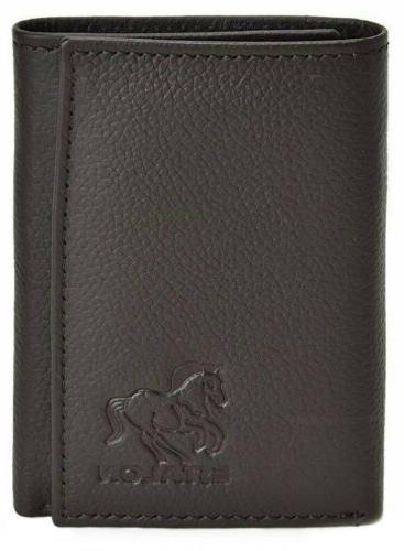 trifold genuine black leather wallet with rfid