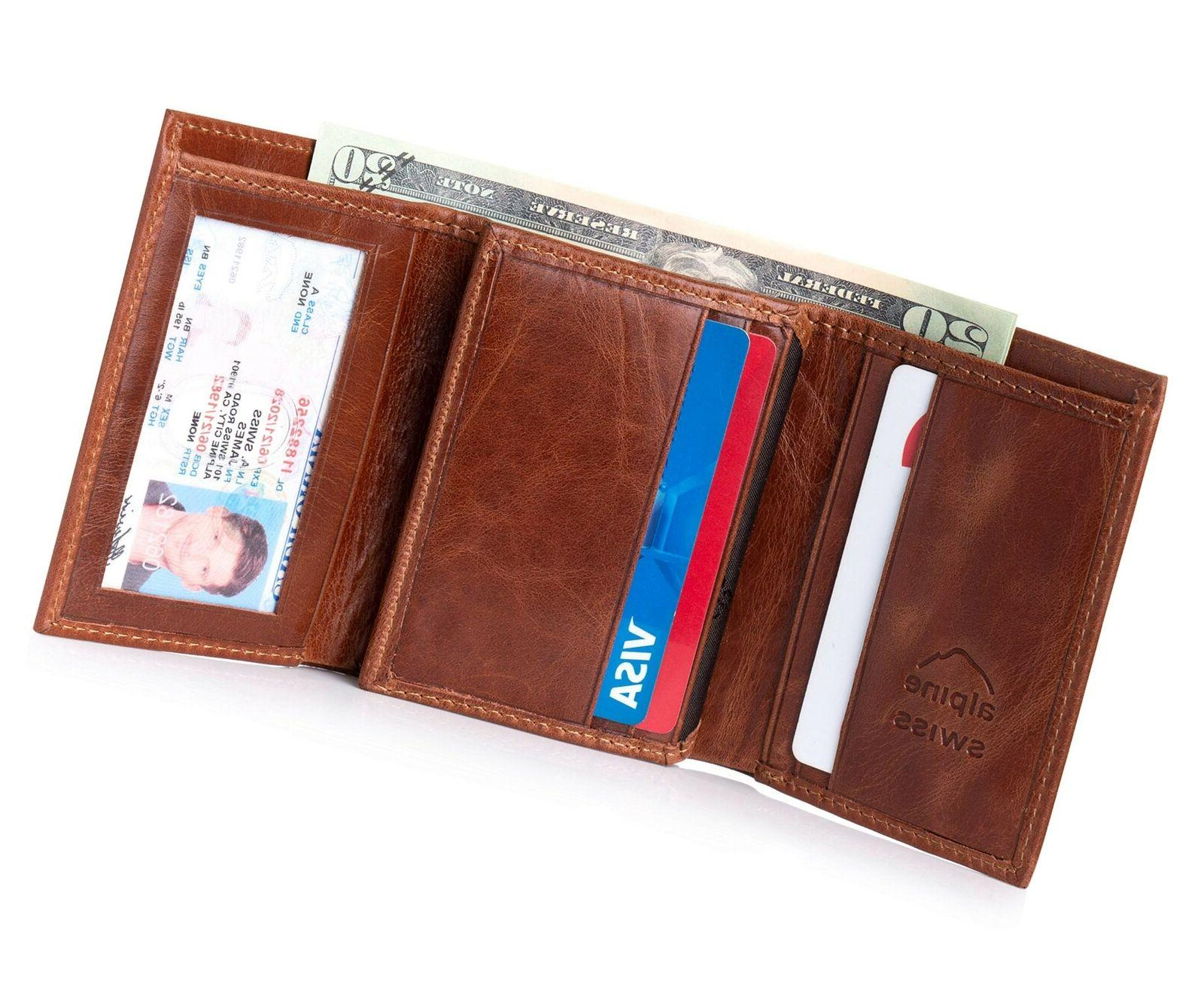Alpine Swiss Mens Trifold Wallet Extra Capacity Multiple Car